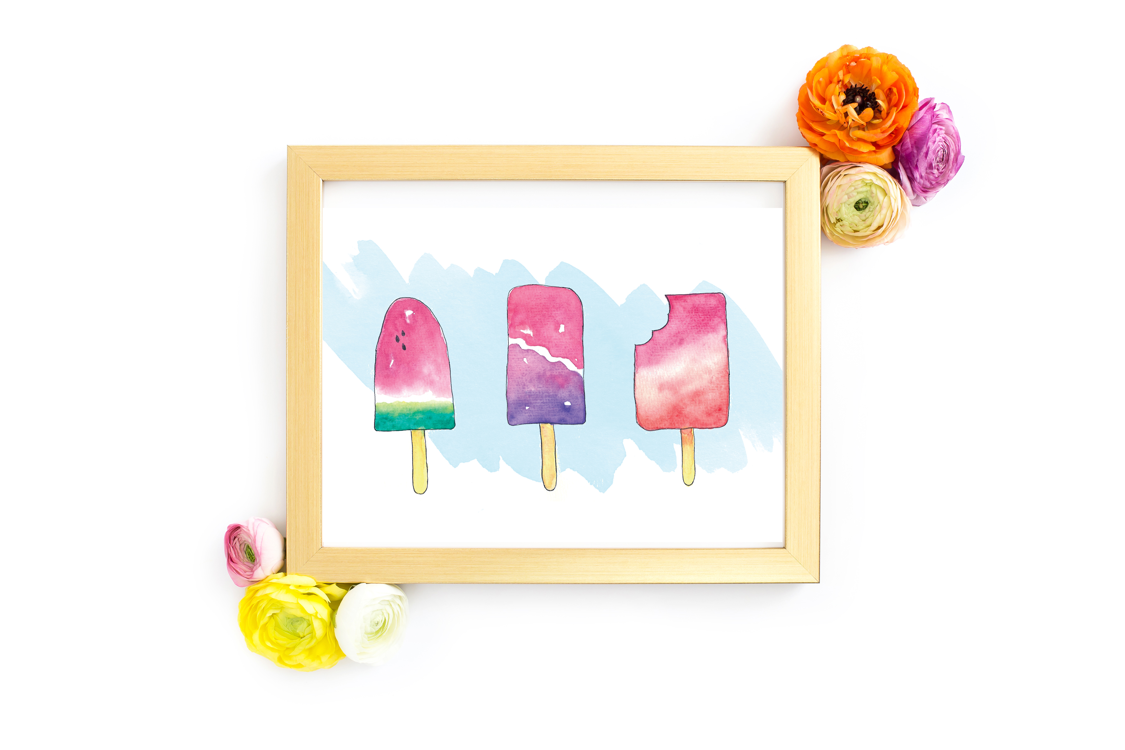 Free Popsicle Watercolor Print